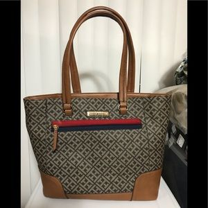 TOMMY HILFIGER  Dark Chocolate monogram tote
